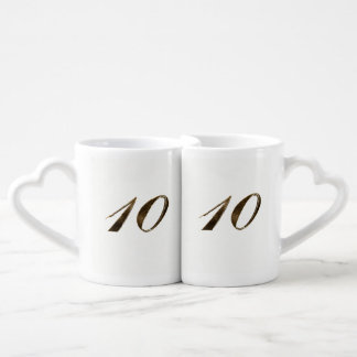 10th Tin Wedding Anniversary Typography Elegant Coffee Mug Set