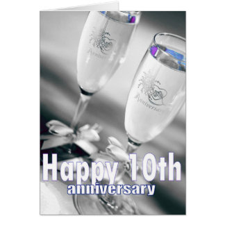 10th wedding anniversary champagne celebration card