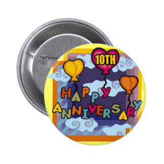 10th Wedding Anniversary Gifts 6 Cm Round Badge
