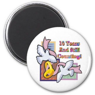 10th Wedding Anniversary Gifts 6 Cm Round Magnet