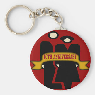 10th Wedding Anniversary Gifts Basic Round Button Key Ring
