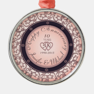 10th Wedding Anniversary Metal Ornament