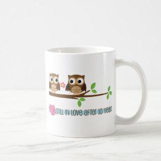 10th Wedding Anniversary Owls Coffee Mug