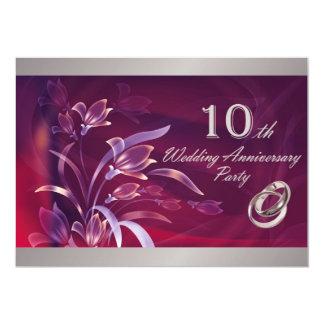 "10th Wedding Anniversary Party Invitations 5"" X 7"" Invitation Card"