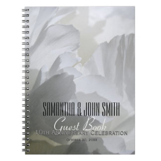 10th Wedding Anniversary Party Peony Guest Book Notebooks