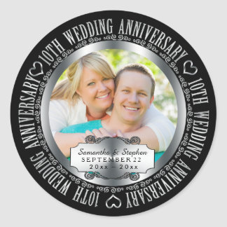 10th Wedding Anniversary Photo Names Date Round Sticker