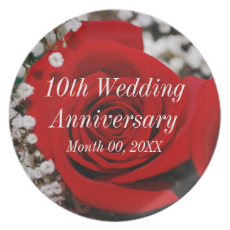 10th Wedding Anniversary Party Plate