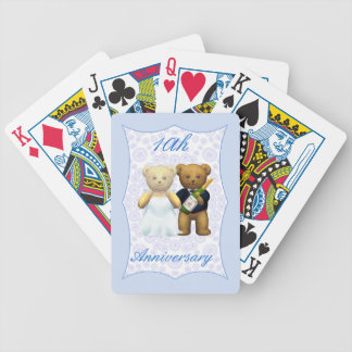 10th Wedding Anniversary Teddy Bear Couple Bicycle Playing Cards