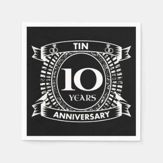 10TH wedding anniversary tin Disposable Serviette