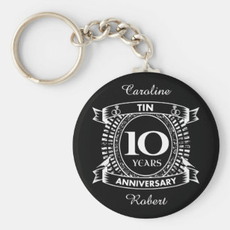 10TH wedding anniversary tin Key Ring