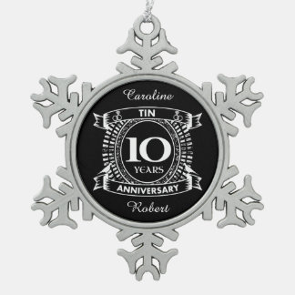 10TH wedding anniversary tin Snowflake Pewter Christmas Ornament