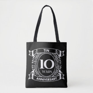 10TH wedding anniversary tin Tote Bag