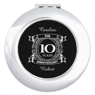 10TH wedding anniversary tin Travel Mirrors