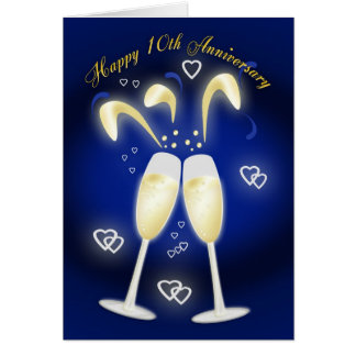 10th Wedding Anniversary Tin Wedding Greeting Card