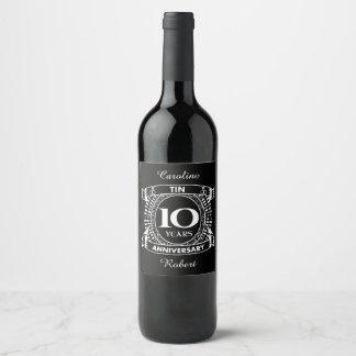 10TH wedding anniversary tin Wine Label