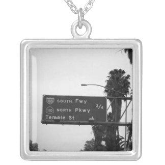 110 Freeway Sign Square Pendant Necklace