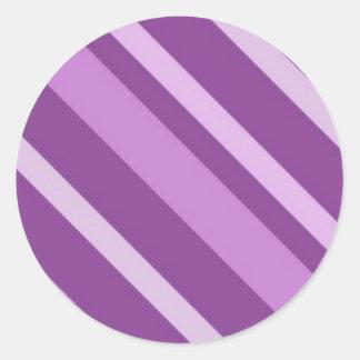 112205-3slant STRIPES PURPLES BACKGROUNDS PATTERNS Round Sticker