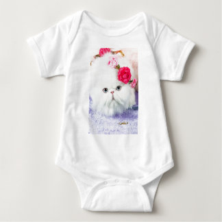 11323-158 White Persian Cat with Pink Roses Baby Bodysuit