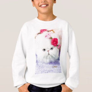 11323-158 White Persian Cat with Pink Roses Sweatshirt