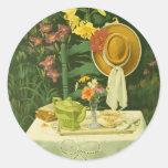 1144 Tea Time in Garden Round Sticker
