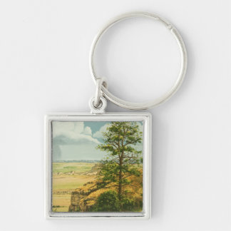 1158 Pine on Scotts Bluff Monument Silver-Colored Square Key Ring