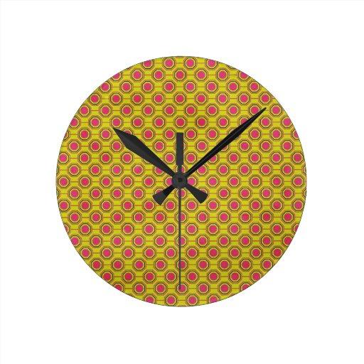 1161_geometric-05 GREENISH YELLOW   CLOUDY ABSTRAC Wall Clocks