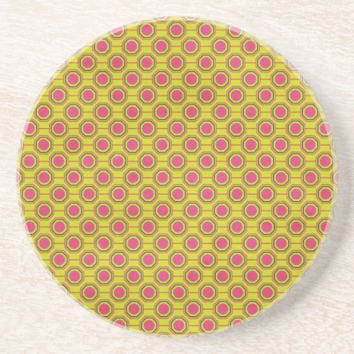 1161_geometric-05 GREENISH YELLOW   CLOUDY ABSTRAC Beverage Coasters