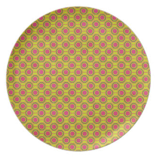 1161_geometric-05 GREENISH YELLOW CLOUDY ABSTRAC Party Plates