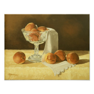 1181 Peaches in Glass Compote Art Print