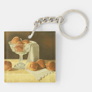 1181 Peaches in Glass Compote Double-Sided Square Acrylic Key Ring