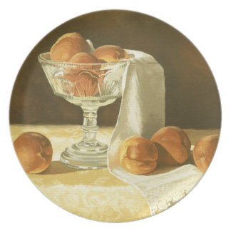 1181 Peaches in Glass Compote Party Plates