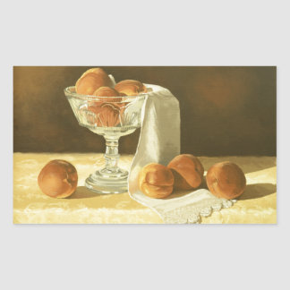 1181 Peaches in Glass Compote Rectangular Sticker
