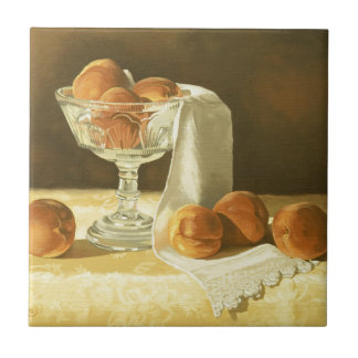 1181 Peaches in Glass Compote Small Square Tile