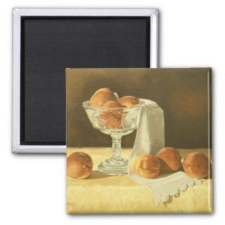 1181 Peaches in Glass Compote Square Magnet