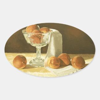 1181 Peaches in Glass Compote Oval Sticker