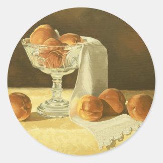 1181 Peaches in Glass Compote Round Sticker