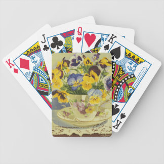 1187 Pansies in Teacup Bicycle Playing Cards