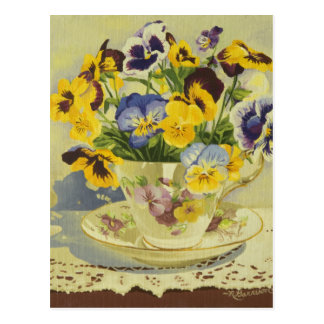 1187 Pansies in Teacup Postcard