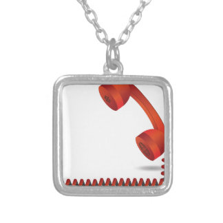 118Red Rhone _rasterized Silver Plated Necklace