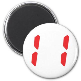 11 eleven  red alarm clock digital number 6 cm round magnet