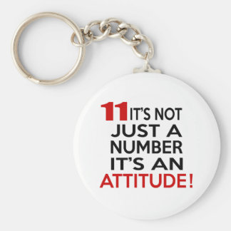 11 it's not just a number it's an attitude basic round button key ring