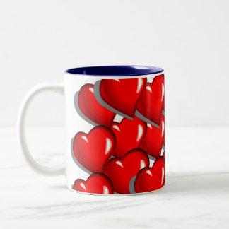 11 ounce two-tone coffee mug, Hearts Two-Tone Mug