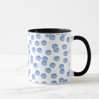 11 oz ringer mug with blue polka dots