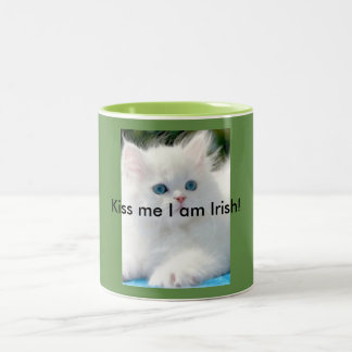 11 Oz Two-Tone Mug  Green  Kitty