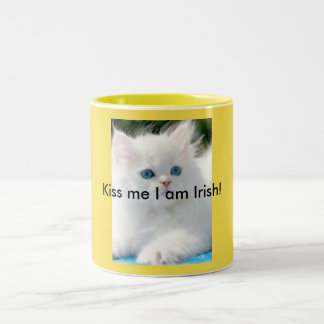 11 OZ Two-Tone Mug Kitty Yellow