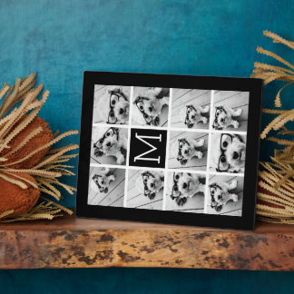11 Photo Instagram Collage Custom Black Monogram Plaque