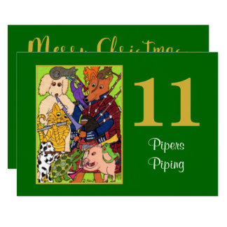 11 Pipers Piping Cute Animals Personalized Holiday Card