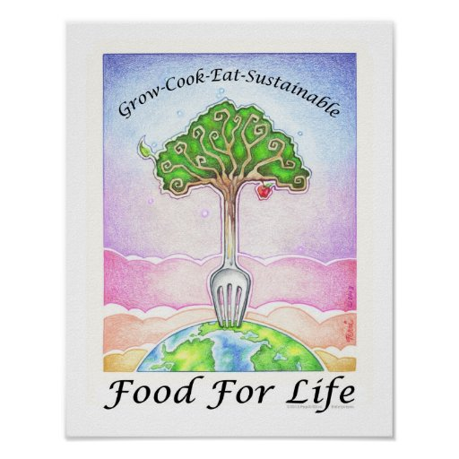 """11""""x14"""" POSTER - GROW, COOK, EAT SUSTAINABLE"""