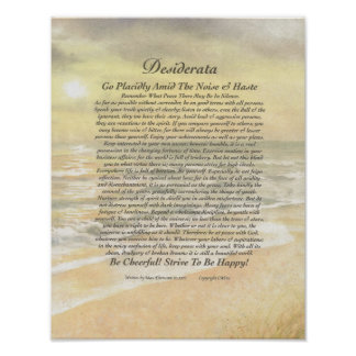11 x 14 Desiderata Poster on Golden Ocean Sunset