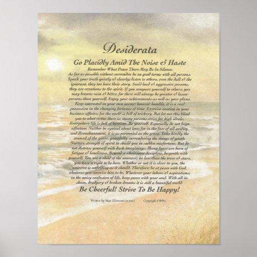 11 x 14 Desiderata Poster on Golden Ocean Sunset
